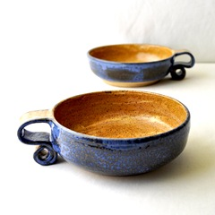 scroll handle cereal bowls by glazedOver Pottery 4