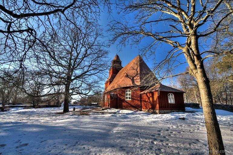 Red church Stockholm wooden Skansen