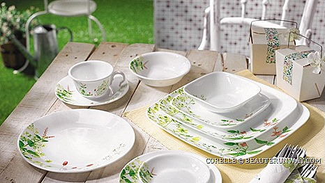 CORELLE PROVENCE GARDEN DINNERWARE SET ROMANTIC SPRING SUMMER COUNTRYSIDE PERFECT TEA PARTIES DAYS exquisite cuisine France charming Europe alluring flora fauna CORNINGWARE, PYREX, VISIONS, EKCO, BAKERs SECRET REVERE CHICAGO CUTLERY