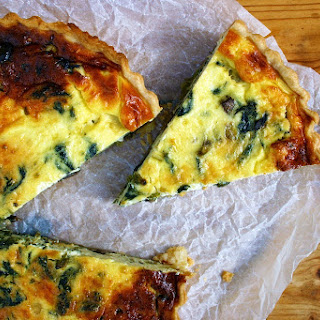 Spring Onion, Mushroom And Nettle Quiche.