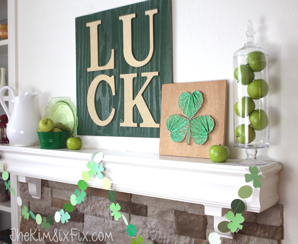 LUCK valentines mantel