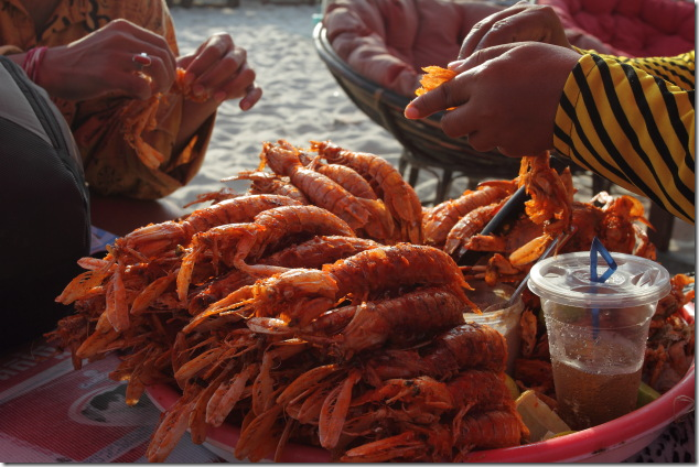 Fried Young Lobsters sold at Serendipity Beach, Sihanoukville, Cambodia