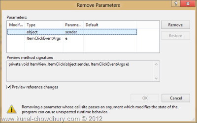 Visual Studio 2012 Refactor - Remove Parameters