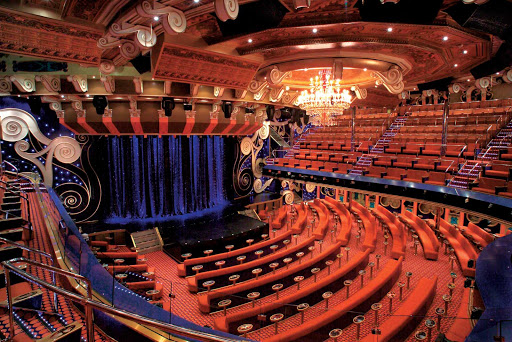 Carnival-Freedom-Victoriana-Lounge - The 1,400-seat Victoriana Lounge, Carnival Freedom's main show lounge, features guest entertainers and Vegas-style revues.