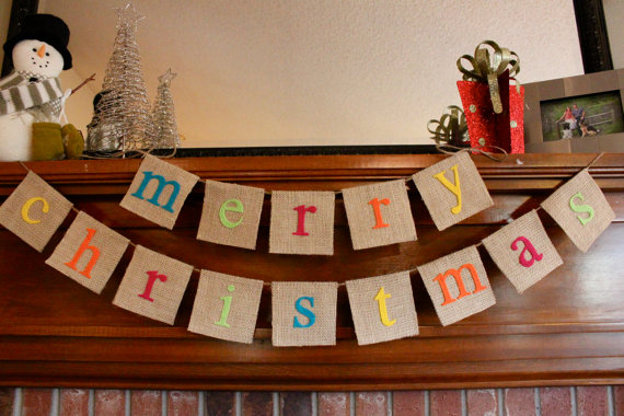 Merry christmas colorful burlap