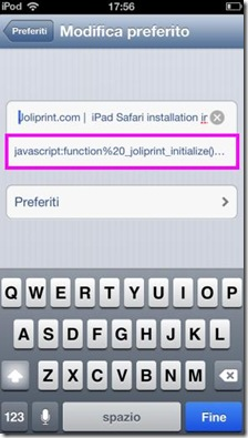 Incollare codice Javascript nel preferito di Safari
