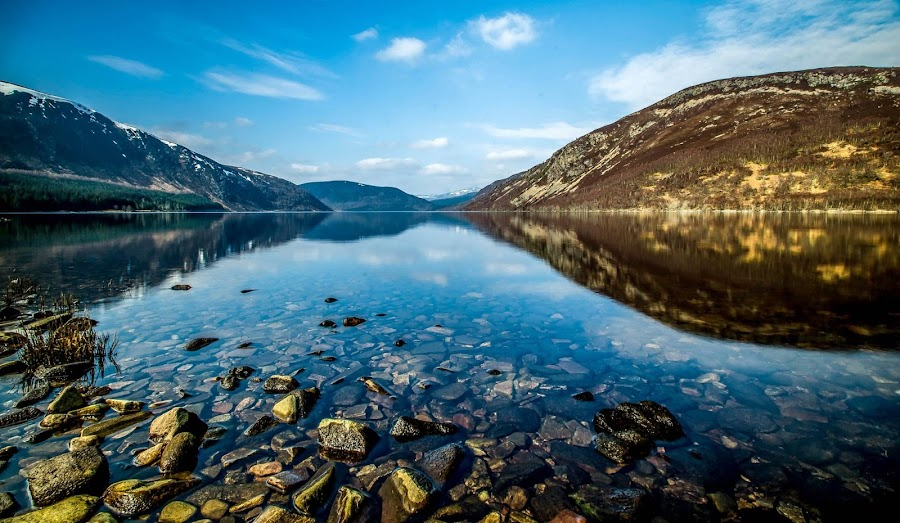 Loch Morie. Scottish Highlands by Peter Bartlett - Landscapes Waterscapes