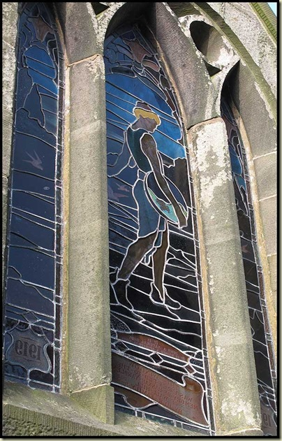 Stained glass window at Saint Lawrence Church