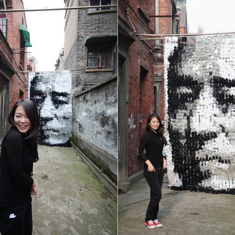 Portrait Made of Socks by Hong Yi