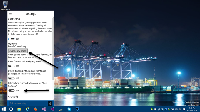7. How to activate Cortana in Windows 10 - Activate Hey Cortana support