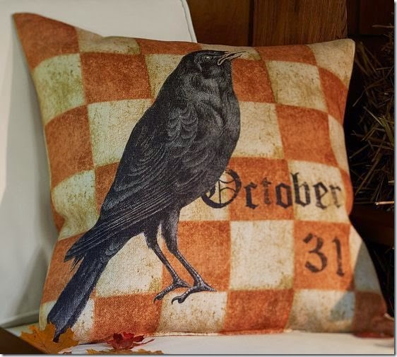 Pottery Barn Halloween Crow Pillow