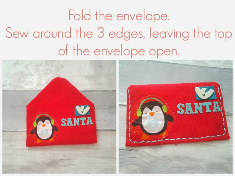 DIY felt envelope sewn up