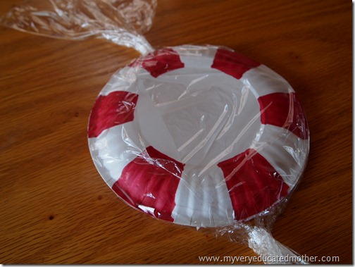 Wrap up your Paper Plate Peppermint Christmas Decoration
