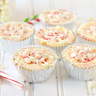 Candy Cane White Chocolate Mini Cheesecakes