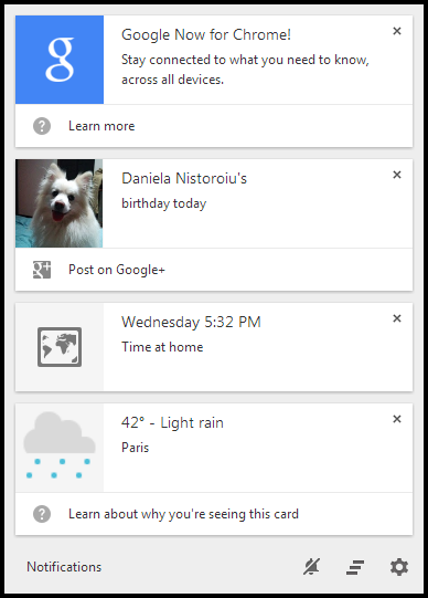 Google Now notifications in Chrome 33