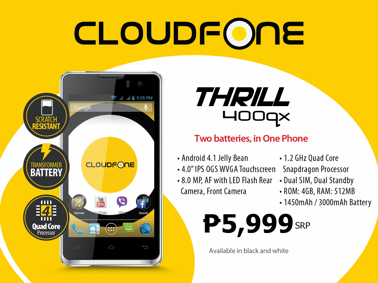 CloudFone Thrill 400qx Specs Price Philippines