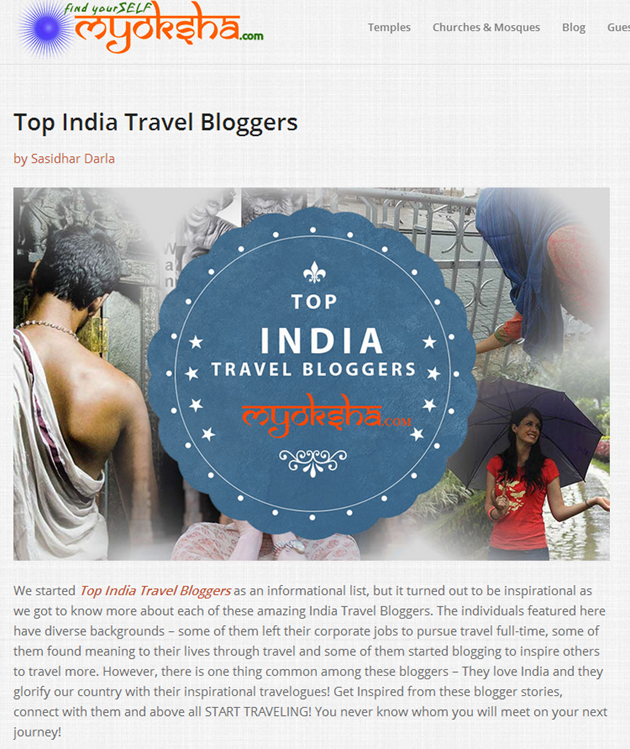 Top India Travel Bloggers List