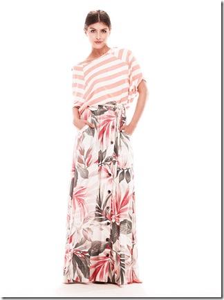 4d181def9 Seguindo as principais tendências da estação, a marca mescla os anos 70, o  color block e handmade para compor sua coleção que têm vestidos e saias  longas, ...