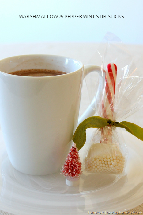 Marshmallow & Peppermint Stir Sticks snowballs, sprinkles, Christmas, candy canes, hot chocolate, cocoa, diy, recipe