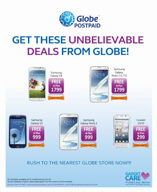 Globe Unbelievable Deals Galaxy Note 2 Galaxy S3 Free on Plan 999