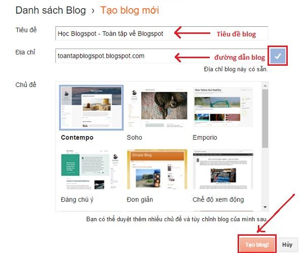 cách tạo blog