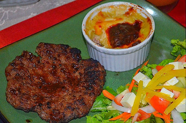 Shepherd's Pie with Salisbury Steak and Garden Salad