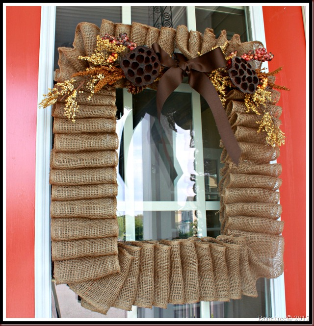 upcycled fall wreath made from used canvas