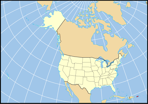Map of the full extent of the United States proper, and Puerto Rico's location and size relative to it.