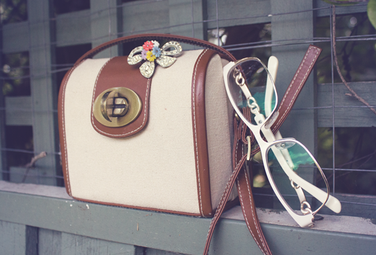 Satchel, vintage brooch and new frames | Lavender & Twill