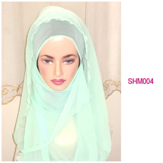 shawl halfmoon plain green