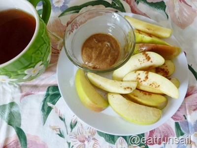 Jan 13 apple and almond butter snack 001