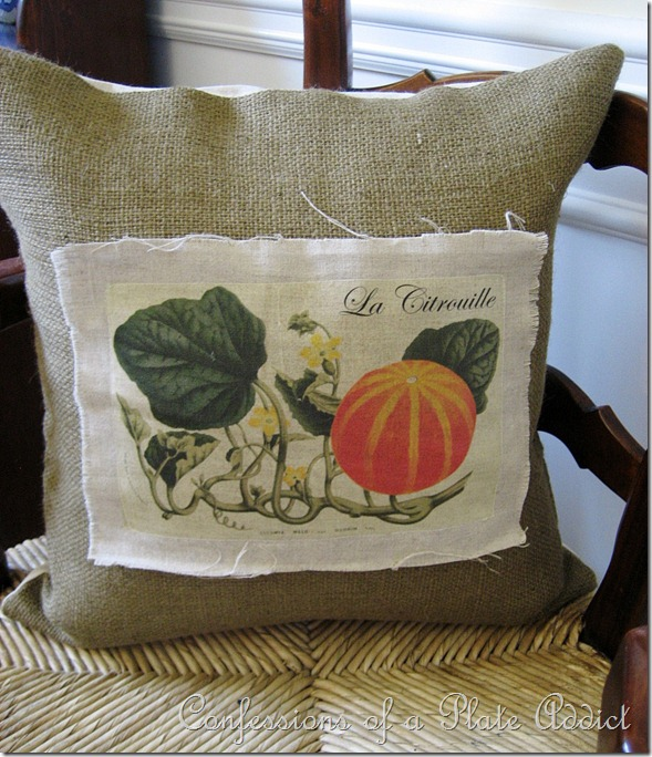 Vintage French Pumpkin Pillow