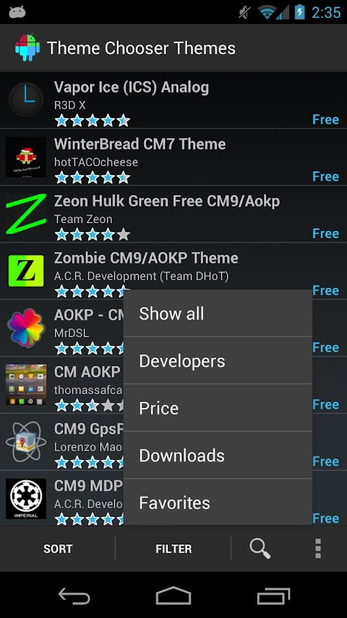 Theme Chooser Themes - screenshot