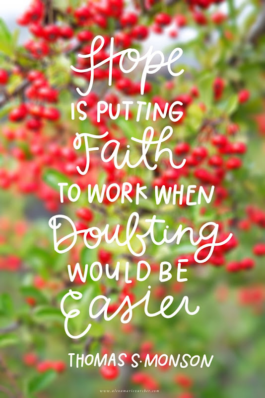Hope is putting faith to work when doubting would be easier. Thomas S Monson