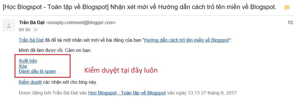 Duyet nhan xet Blogspot Cấp Tốc qua mail