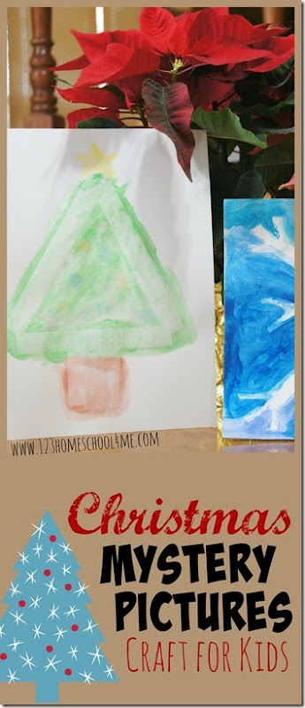 Christmas Mystery Pictures Craft for Kids - this is such a clever Chrsitmas craft for kids! Kids of all ages will love this Christmas painting activity!