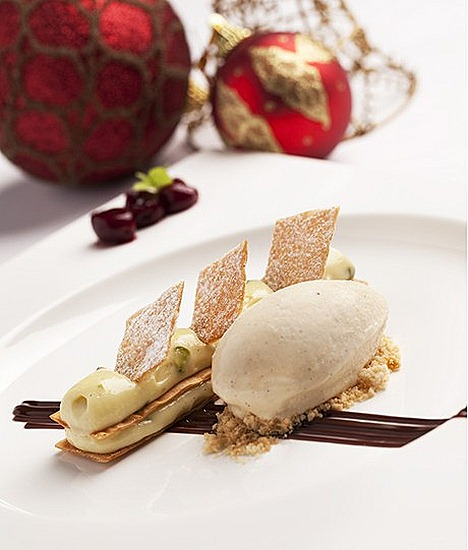 The Halia Restaurant 1 Cluny Road, Ginger Garden Sing Mille feuille of pistachio and cream, eggnog ice cream and stewed cherries
