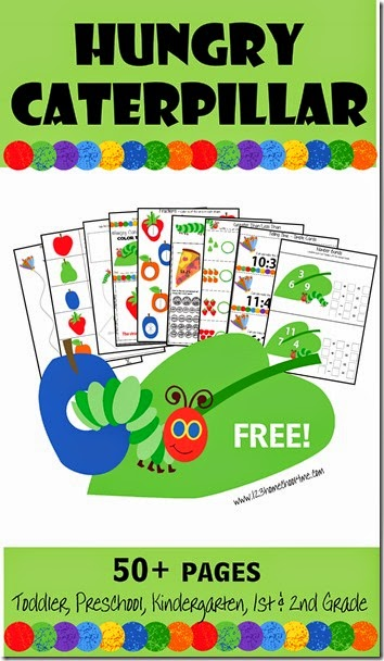 FREE Hungry Caterpillar Worksheets for Kids - these free printable activities are perfect to help toddler, preschool, kindergarten, and first grade kids practice cutting, alphabet letters, fruit names, days of the week, addition, subtraction, cut and paste, folow directions, which comes next, counting money, telling time, and SO MUCH MORE!!