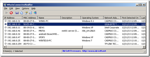 New from NirSoft - WhoIsConnected[to my darn network]Sniffer