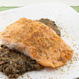 Spiced Salmon over Coconut Lentils.