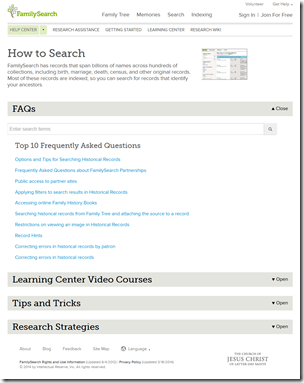 Fumanysearch.help page with FAQs expanded
