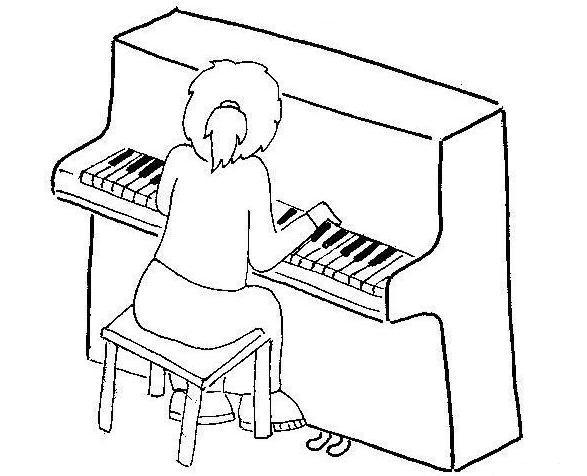 Dibujos para pintar ni os tocando instrumentos musicales - Coloriage piano ...