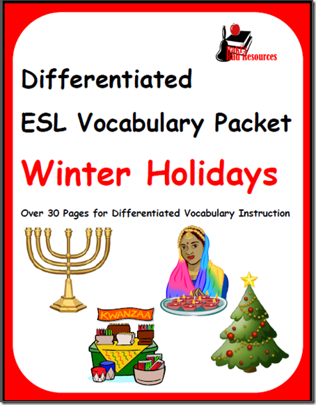 Winter holiday vocabulary packet covers the four major winter holidays celebrated in the English speaking world: Christmas, Hanukkah, Kwanza and Diwali.  Download for free from Raki's Rad Resources