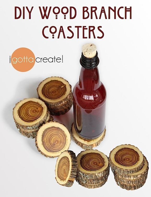 DIY Wood Branch Coasters by I Gotta Create bottle