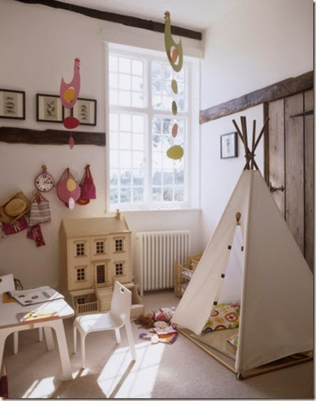 White bright airy childrens bedroom playroom tent wigwam table chair carpet dolls house colourful chicken mobiles real home L etc 04/2007 not used