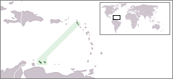Map marking the location of the former Netherlands Antilles, just prior to the dissolution of the territory