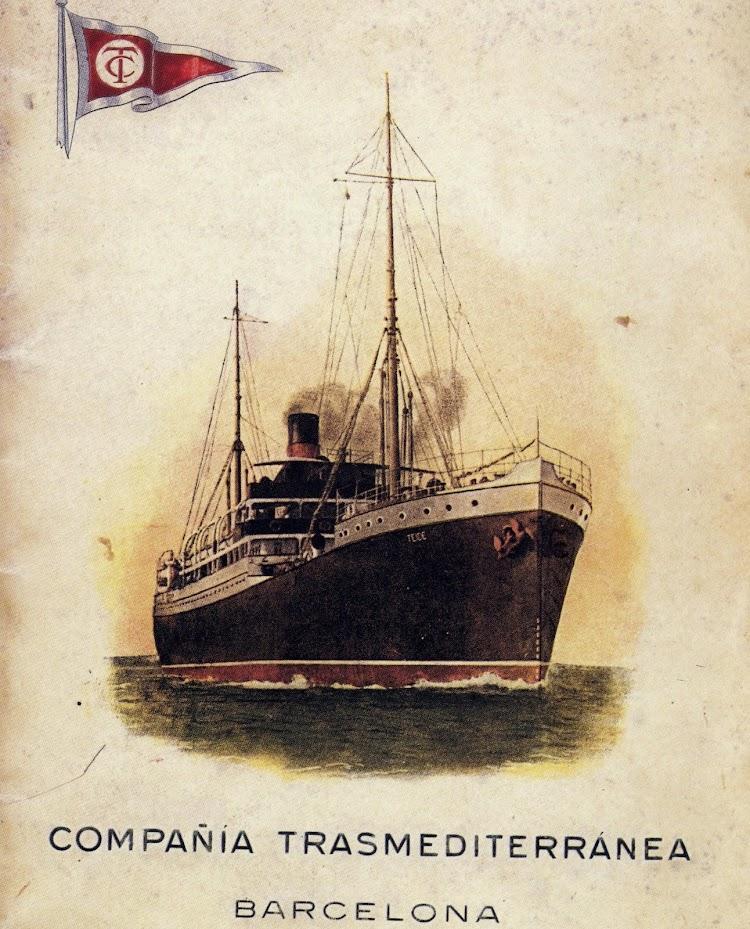 Conocido cartel publicitario de la Compañía Trasmediterránea del año 1.927. El TEIDE todavía con los primeros colores corporativos. Del libro Toda Avante.JPG