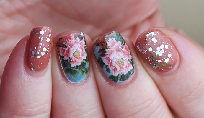 Flowers Blossoms Nail Art Nageldesign Water Decals Blumen Glitzer 03