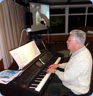 Jim Nicholson playing the arrival music