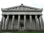 The Walhalla is a hall of fame that honors famous people in German history The hall is housed in a neo-classical building above the Danube River, Germany.